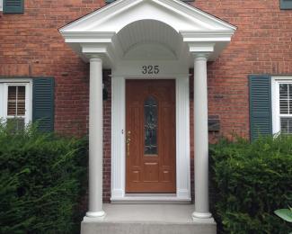 Westwood Front Entry Roof And Oak Fiberglass Door